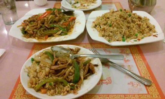 Mayflower Chinese Cuisine Three Sample Dishes From The Restaurant Shredded Pork In Garlic