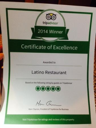 Latino Restaurant : Certificate of Excellence