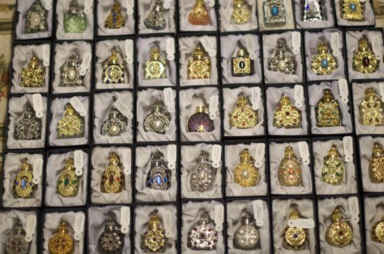 Tapestry Shop: Czech vintage handmade glass/filigree perfume bottles