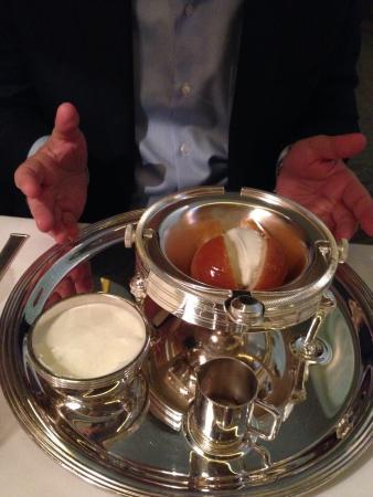 Alain Ducasse At The Dorchester Rum Sponge Cake Desert With Vanilla Warm And Heavenly