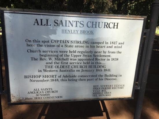 All Saints Anglican Church : Sign at the entrance
