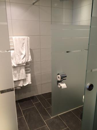 Schöne und moderne Badezimmer mit Dusche, WC und Doppellavabo - Picture of Hotel Alp Larain ...