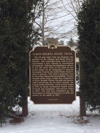 Elroy-Sparta State Trail: Historical Marker in Kendall, Wisconsin.
