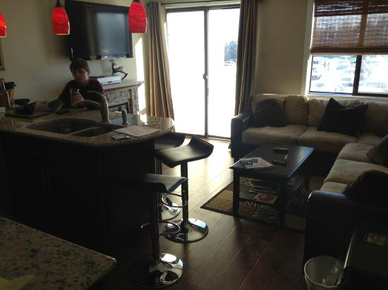 Mountain Lodge Condos: Comfortable living room/kitchen combo. Well appointed!