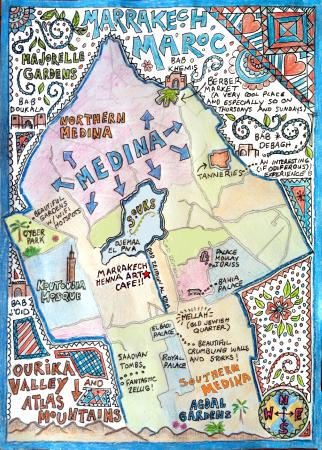 Hand drawn map Picture of Marrakech Henna Art Cafe Marrakech