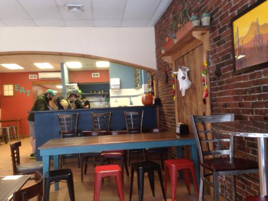 Two Rivers Burrito Co.: Interior - the basics, clean and cute vibe
