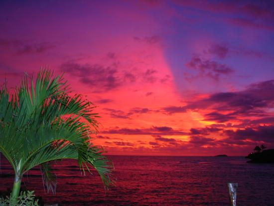 Savusavu, Fiji: The sky lights up out of nowhere from blue to pink, purple, pink, and red. Amazing.