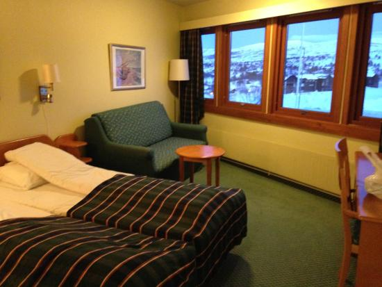 Hovden Hoyfjellshotell: Twin bed, a coach, a small TV and a nice view.