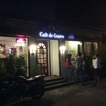 Cafe de Geneve: Facade at Night