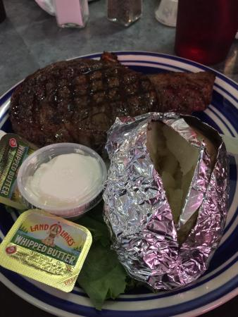 Bear Meadows Grill: Ribeye was very good. Small seating area. The full rack of ribs also looked very good. Homemade