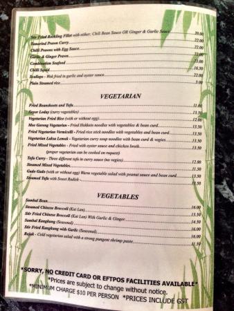 Penang Coffee House: Vegetarian menu options