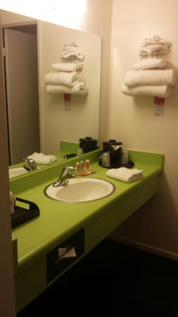 Econo Lodge: Neon green bathroom from the 80s?