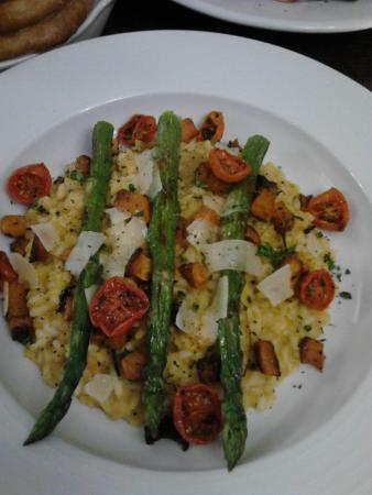 Cockerham, UK: Butternut squash risotto with cherry toms, asparagus & parmesan