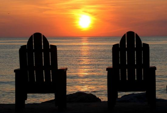 Norrland Resort: The end of the dock Adirondack chairs are a favorite spot either morning or evening.