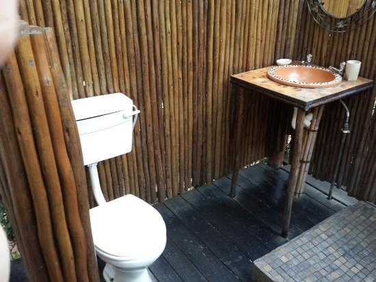 Pezulu Tree House Game Lodge: Outside shower, toilet and wash basin