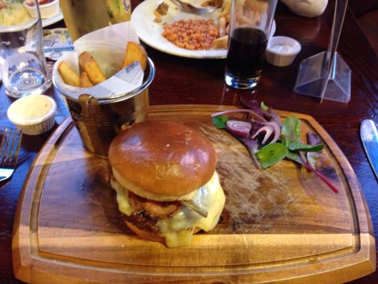 Bacon & cheese burger with chips and salad (although both half eaten prior to photo).