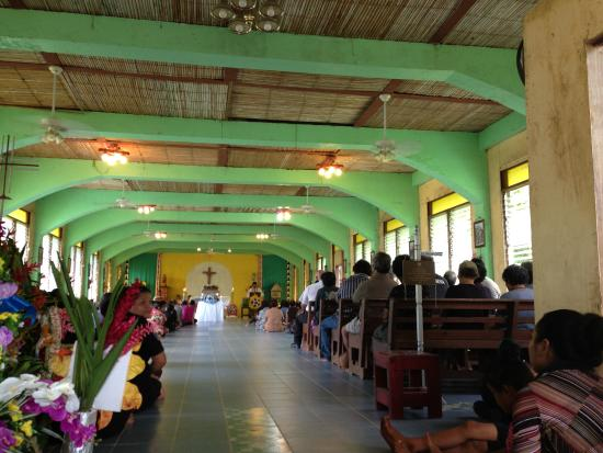 Yap, Micronesia: Inside St. Joseph's Church in Gagil...