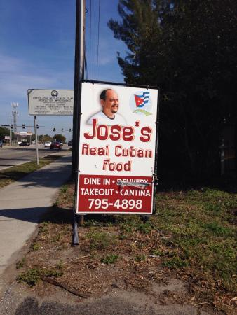 Jose's Real Cuban Food: Sign on street