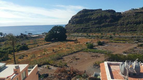 Apartamentos Bellavista Gomera: View from terrace. Behind the big tree is the village centre.