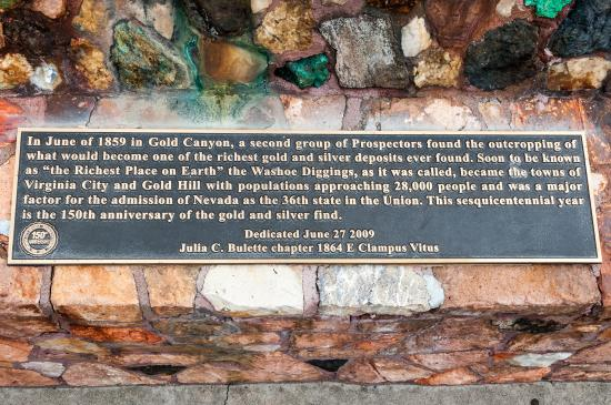 Comstock Lode: Plaque to the Second Discovery of Gold