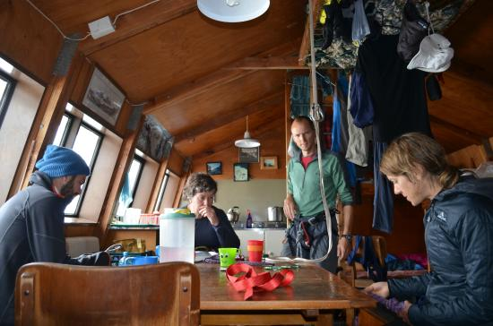Introductory Climbing Course: Knot practice inside Caroline Hut. Photo by Keith Vallard.