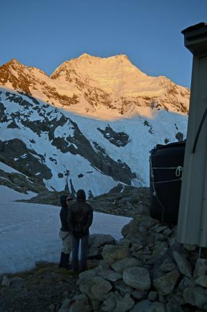 Introductory Climbing Course: View of Mt Cook from outside Caroline Hut. Photo Keith Vallard.