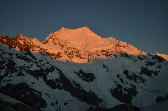 Introductory Climbing Course: Sunrise on Caroline Face of Mt Cook. Photo Keith Vallard.