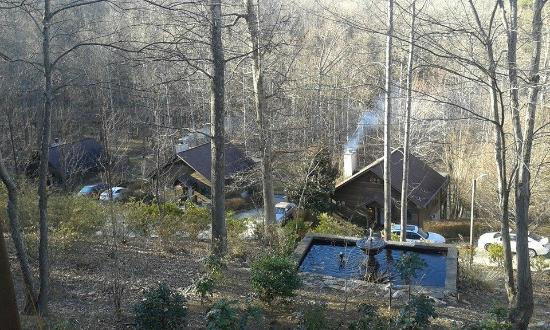 Asheville Cabins of Willow Winds: From our back porch via rocking chairs!