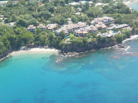 Cap Estate, Sta. Lucía: View from the helicopter - Private beach, resort and restaurant