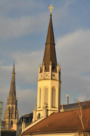 Park Inn by Radisson Linz: view of Martin Luther Church and Mariendom steeple