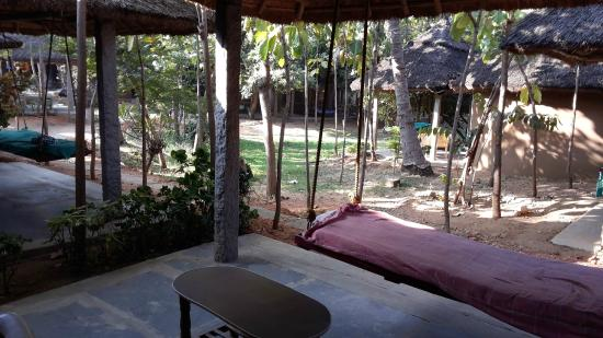 Shanthi Guesthouse: The garden view balcony, with the Jhoola ofcourse!