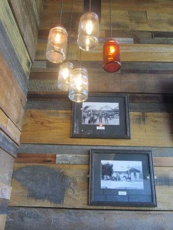 Speights Ale House Wanaka: Jam jar lights and old-time photos