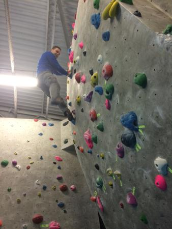 Durham Climbing Centre: My mate warming up on an easy circuit