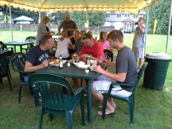 Brattleboro North KOA Journey : Guests enjoying fresh fish and chips from the VV.