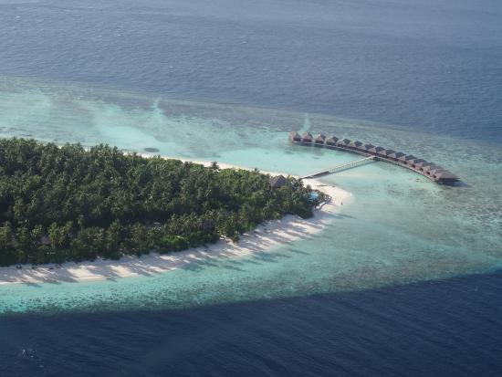 Filitheyo Island Resort: Blick auf die Sunset-Bar und den Wasserbungalows und dem Nordstrand (Lage der Doppelbungalows)