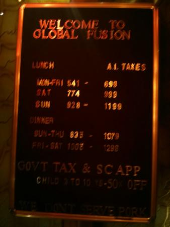 Admirable Price List Picture Of Global Fusion Restaurant Mumbai Beutiful Home Inspiration Xortanetmahrainfo