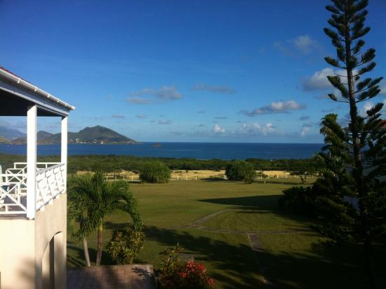 The Mount Nevis Hotel: view from our room's balcony, facing St.Kitts in background