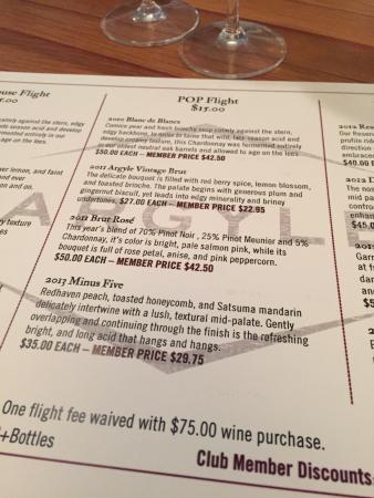 Argyle Winery: Pop flight