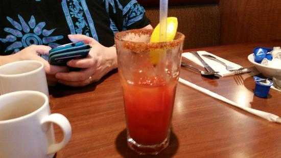 The Broken Yolk: Great Bloody Mary with chile/salt rim on the glass