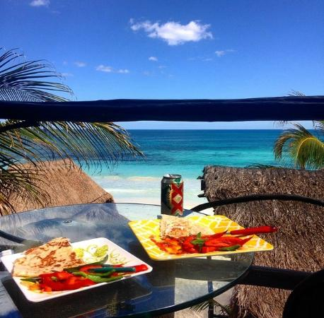 Kiras Beach House: Our homemade quesadillas, made in our little kitchen, enjoyed on our deck!