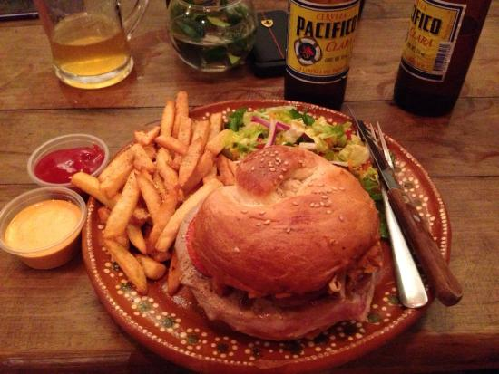 Hey Cocina Nayarit: Delicious tuna burger with fries and Pacifico beer.