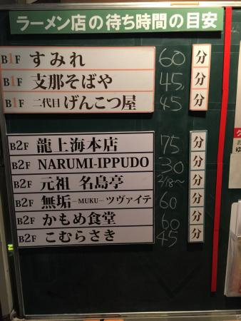 Shinyokohama Ramen Museum: Long long waiting times listed on the board and updated by museum staffs
