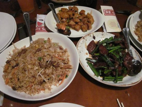 P.F. Chang's: Mongolian Beef, Fried Rice Combo and Changs Spicy Chicken.