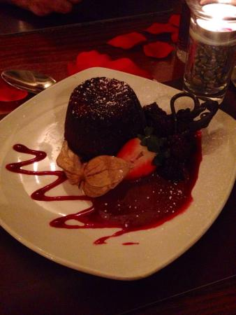 The Poplars: Chocolate fondant with a strawberry compote
