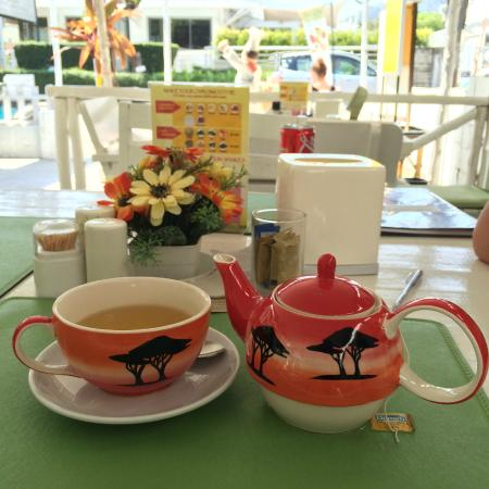 Zest: Camomile tea served in pretty teapot and cup