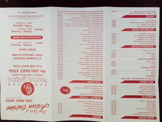 Take away menu picture of peacock gardens chinese and for Australian cuisine menu