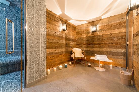 Les Chalets du Jardin Alpin : Chalets du Jardin Alpin, spa avec sauna et hammam.