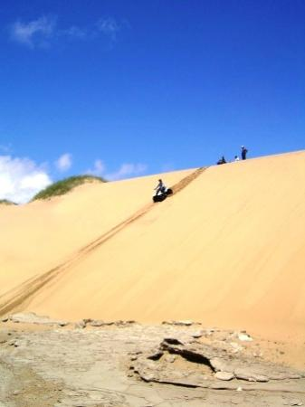 Kuiseb Delta Adventures: Steep descent down the face of a dune