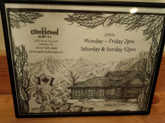 Creekbread : hours of operation