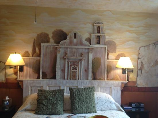 The Mission Inn: San Luis Rey hand crafted headboard for the king size bed